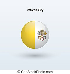Vatican City round flag on gray background Vector...