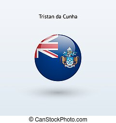 Tristan da Cunha round flag. Vector illustration. - Tristan...