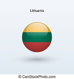 Lithuania round flag on gray background. Vector...