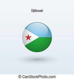 Djibouti round flag Vector illustration - Djibouti round...