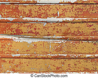 Old painted sheet iron - The dry paint is peeling from the...