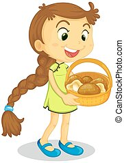 Girl holding basket full of mushrooms