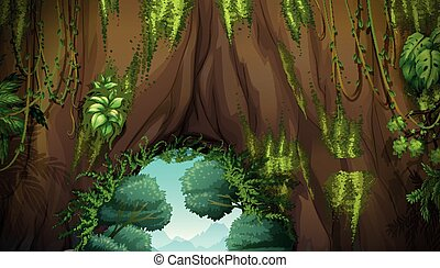 Nature scene with cave and trees