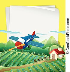 Paper design with airplane flying over the field