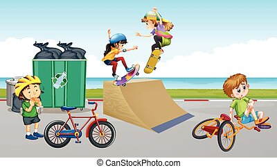Children riding bike and playing skateboard illustration