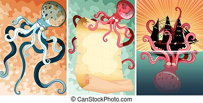 Giant octopus in three different scenes illustration