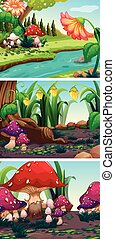 Nature scene with mushrooms and rivers illustration