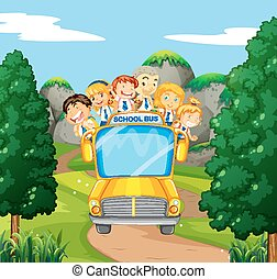Students riding on yellow school bus illustration
