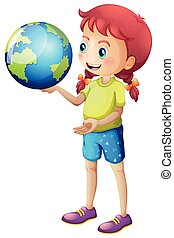 Girl holding globe in her hand illustration