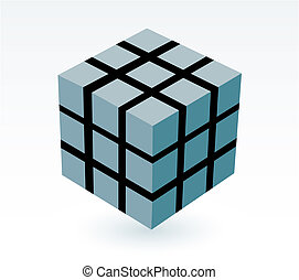 block of cube - block of blue green cube with  drop shadow