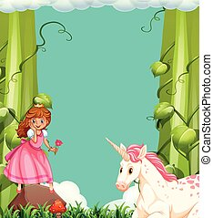 Princess and unicorn in the woods illustration