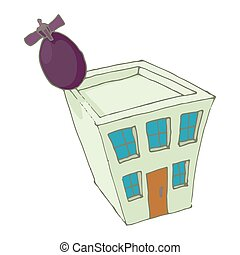 Bomb hit the home icon, cartoon style - icon in cartoon...