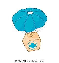 Medicine aid in a box with a parachute icon - icon in...
