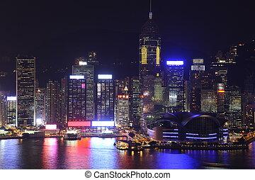 Illuminated Hong Kong Island skyline with reflections at night