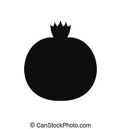 Ripe pomegranate icon, simple style