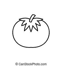 Tomato icon, outline style - Tomato icon in outline style...