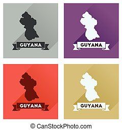 Concept flat icons with long shadow Guyana map