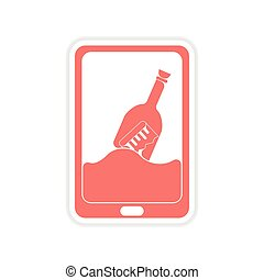 paper sticker on white background mobile phone application
