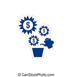 paper sticker on white background Money Tree