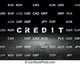 Banking concept: Credit in grunge dark room