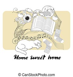 Calligraphic quote printable phrase Home sweet