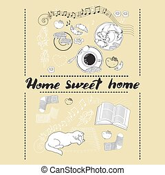 Calligraphic quote printable phrase Home sweet.