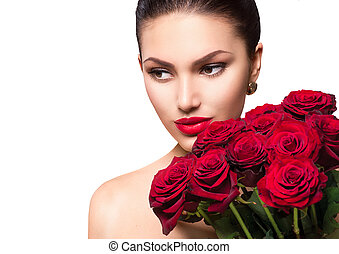 mujer, belleza, ramo, grande, rosas, Moda, modelo, rojo