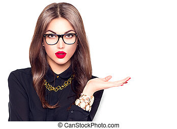 Beauty fashion sexy girl wearing glasses showing empty...