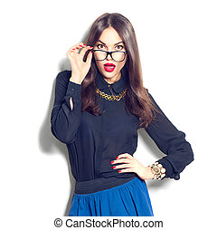 Beauty sexy fashion model girl wearing glasses, isolated on...