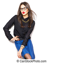 File name:Beauty sexy fashion model girl wearing glasses,...