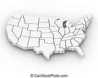 Map of USA 3d