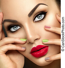 Beauty fashion woman with vivid makeup and colorful...