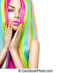 Beauty girl portrait with colorful makeup, hair and nail...