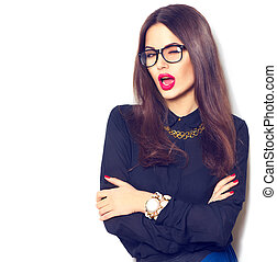 Beauty sexy fashion model girl wearing glasses, isolated on white background