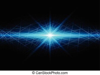 Abstract technology background with bright flare with mesh. Vector illustration.