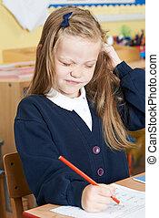 sala aula, cabeça, piolhos, sofrimento, pupila, femininas,...
