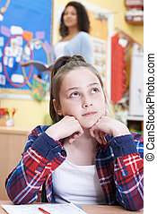 Female Elementary School Pupil Daydreaming In Class