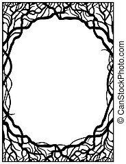 Frame of branches - Frame of silhouettes of branches in...
