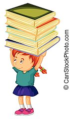 Girl carrying stack of books on her head