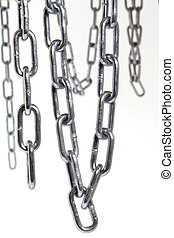 Chains hanging in front of white background