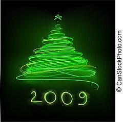 Christmas tree - Abstract green Christmas tree on the black...