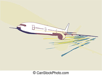 detailed airplane - A vector illustration of a detailed...