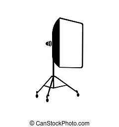 Studio light bulb in softbox icon, simple style - icon in...