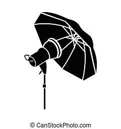 Studio flash with umbrella icon in simple style - icon in...