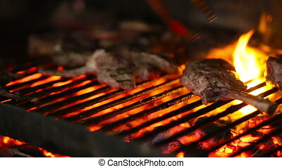 Grill, Frying Fresh Meat, Chicken Barbecue, Sausage, Kebab,...