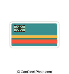 paper sticker on white background bank card - paper sticker...