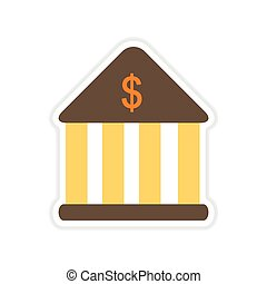 paper sticker on white background bank building - paper...