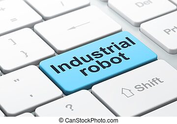 Industry concept: Industrial Robot on computer keyboard background