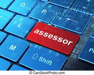 Insurance concept: Assessor on computer keyboard background...
