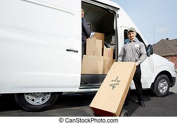 paquete, entrega, grupo, hombre
